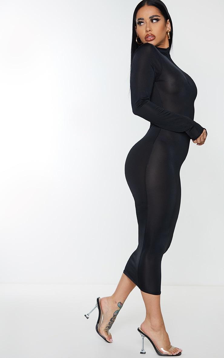 Shape Black Disco Zip Front Midi Dress 3