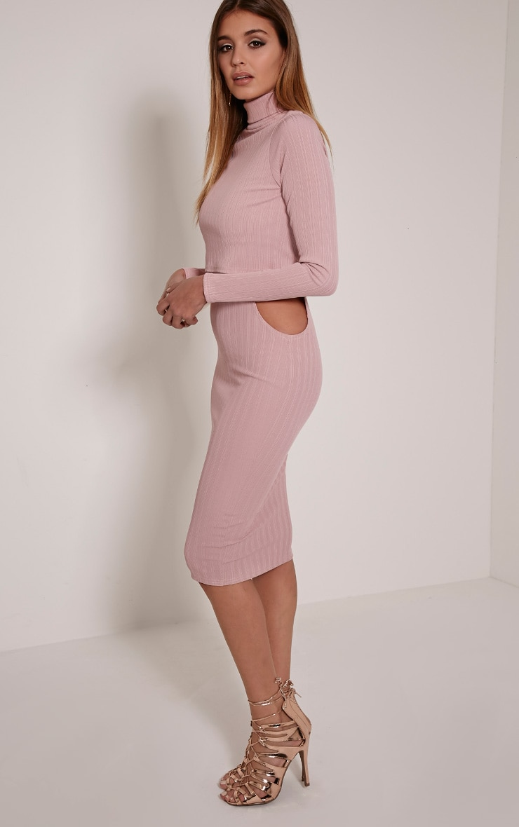 Alma Mauve Ribbed Cut Out Long Sleeve Midi Dress 4
