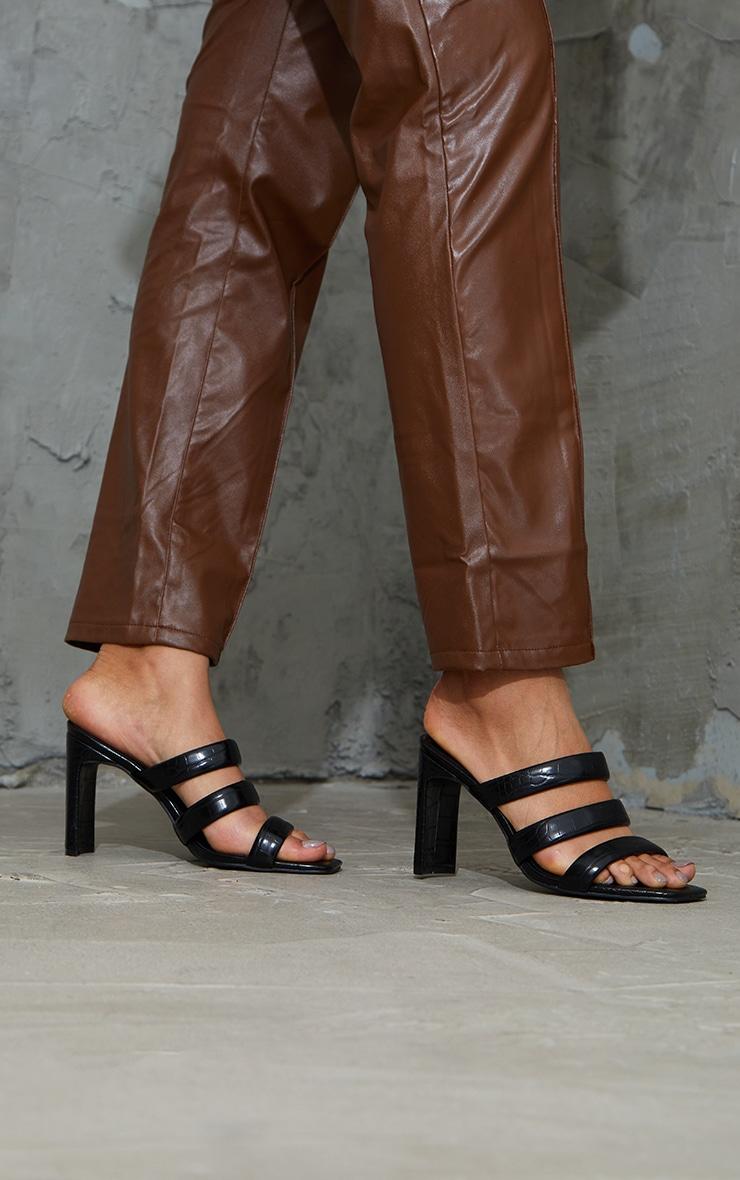 Black PU Croc Triple Strap Flat Heeled Mules 1