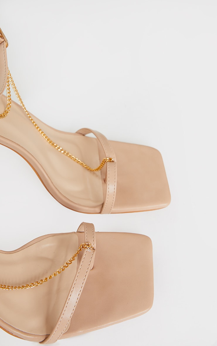 Nude Square Front Chain Detail High Heels 3