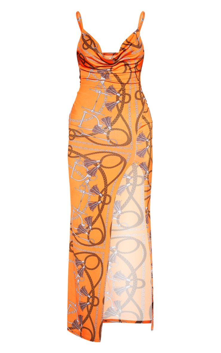 Orange Chain Print Cowl Neck Maxi Dress 4