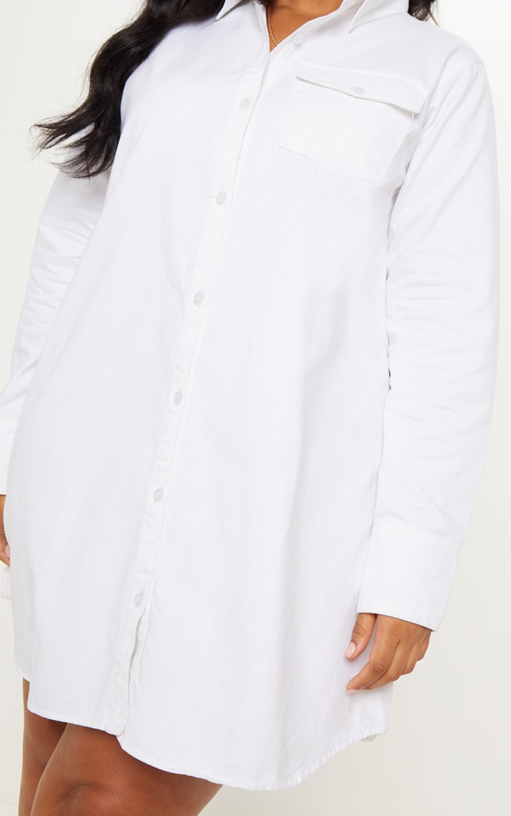 Plus White Pocket Detail Oversized Shirt Dress 5