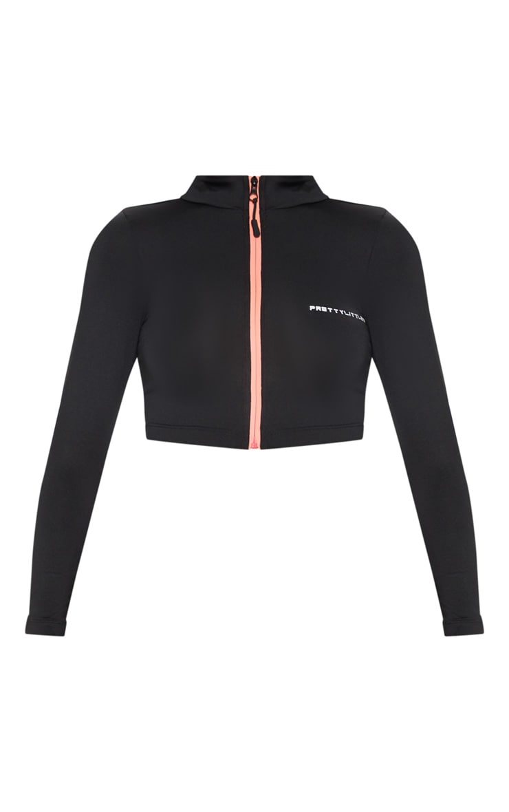 PRETTYLITTLETHING Black Long Sleeve Zip Up Gym Top 3