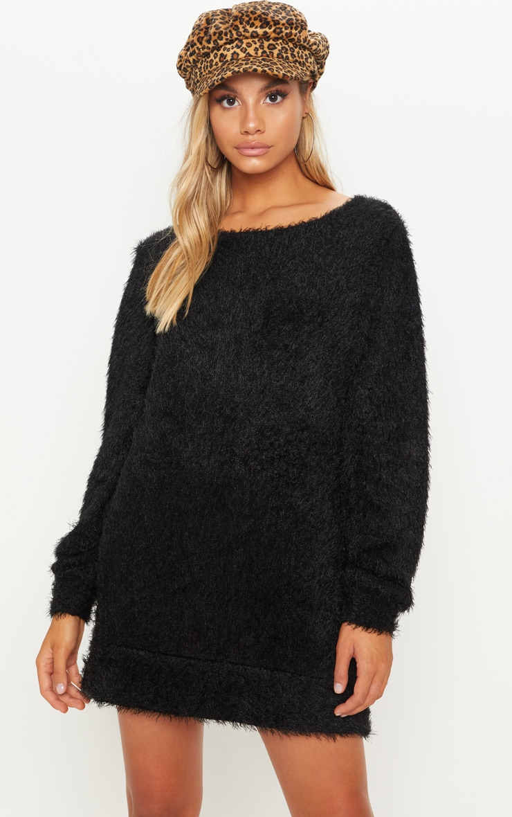 Black Eyelash Jumper Dress