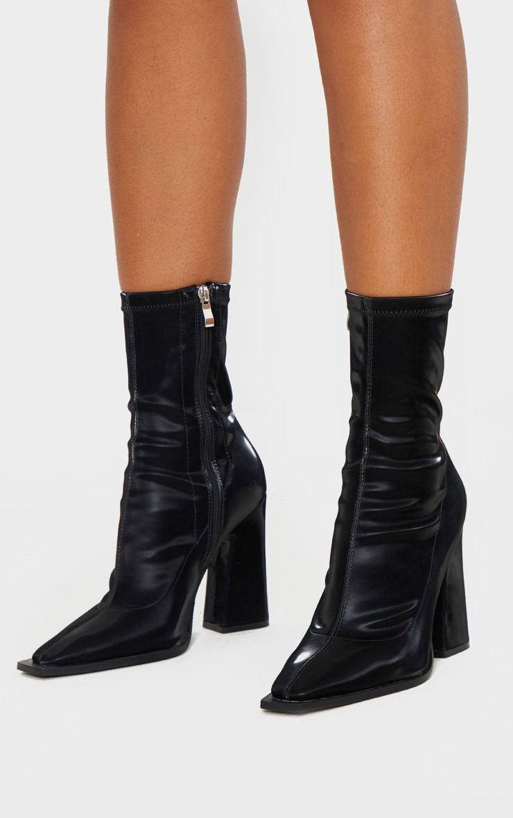 Black Square Toe Block Heel Ankle Sock Boot 2