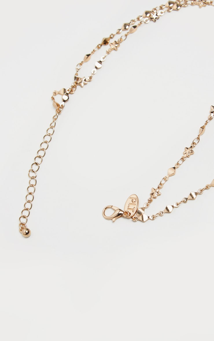 Gold Double Layer Stars And Diamante Chain Anklet 4