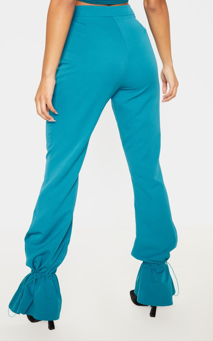 Teal Woven Toggle Cuffed Straight Leg Trouser 4