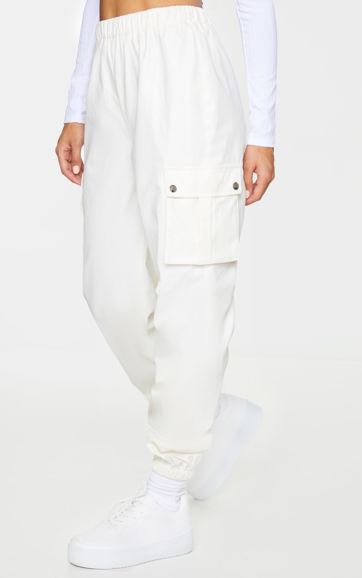 Cream Faux Leather Cargo Pants 2