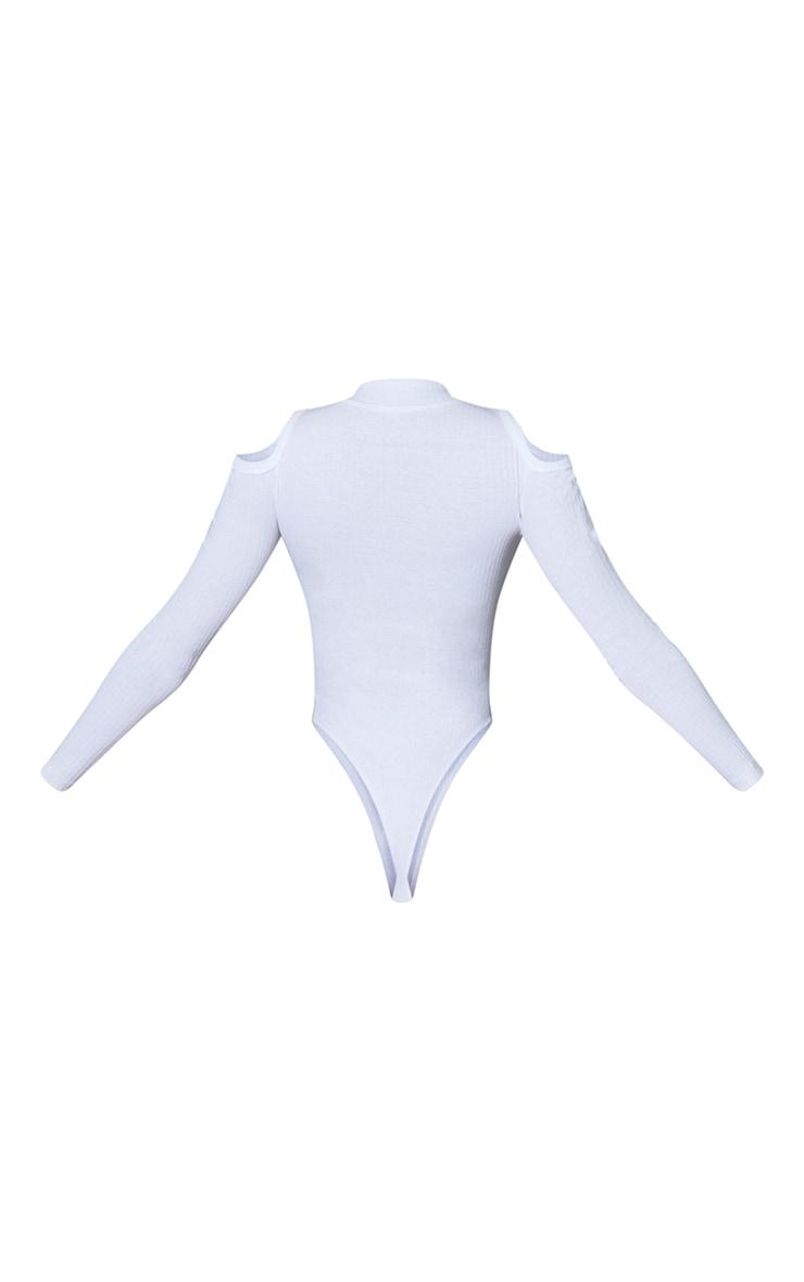 White Rib Cold Shoulder Zip Front Long Sleeve Bodysuit 6