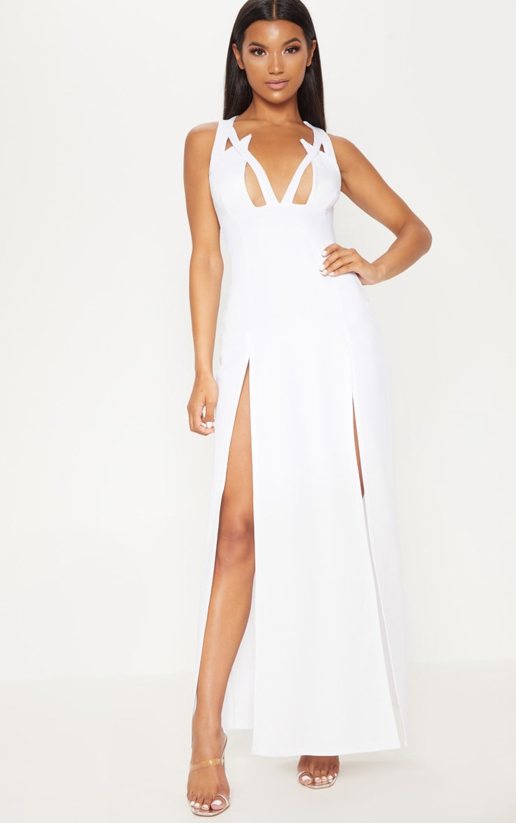 White Pointy Bust Detail Extreme Split Maxi Dress 1