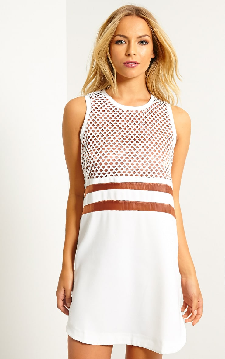 Tamsin White Fishnet Shift Dress 4