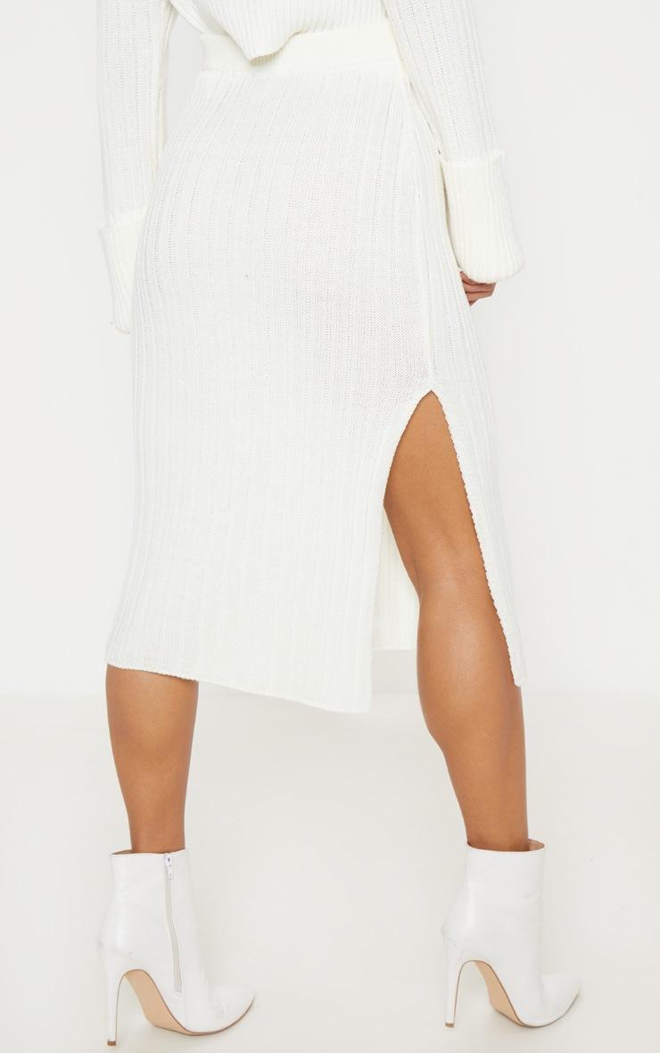 Cream Ribbed Knitted Midi Skirt 4