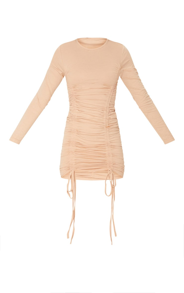 Stone Long Sleeve Ruched Front Bodycon Dress 3