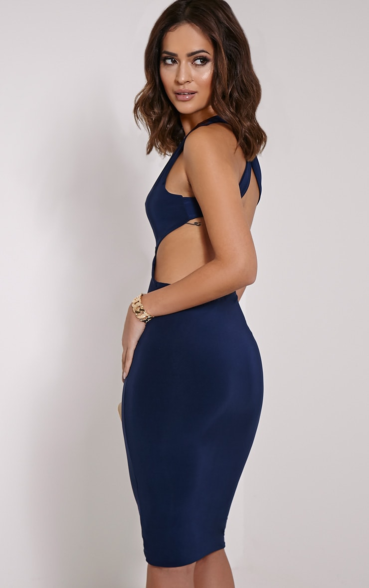 Biddy Navy Deep V Plunge Cross Back Midi 5