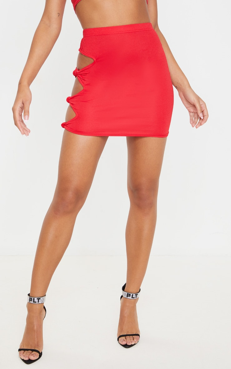 Red Cut Out Detail Mini Skirt 2