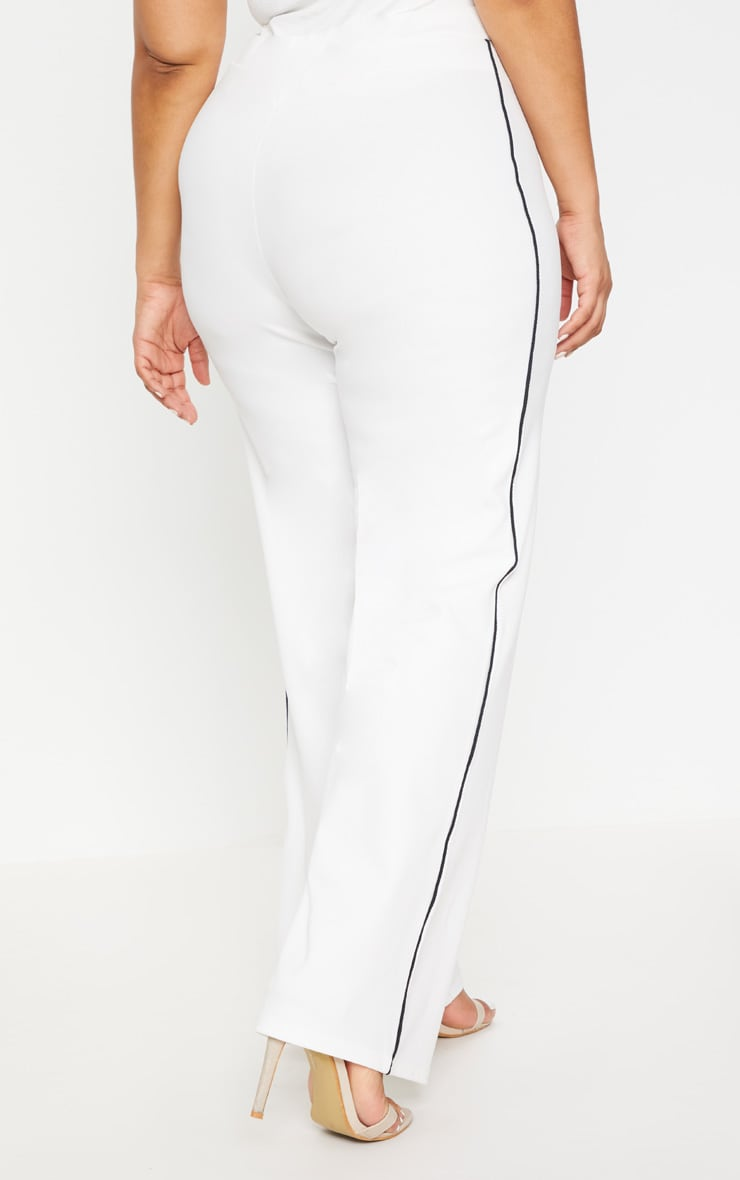 Plus White Contrast Seam Detail Wide Leg Trousers 4