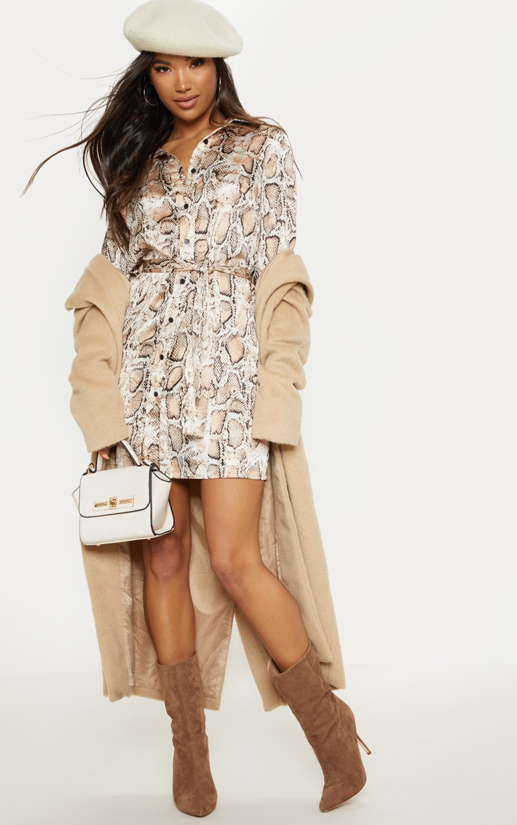 Beige Snake Print Satin Tie Waist Shirt Dress 1