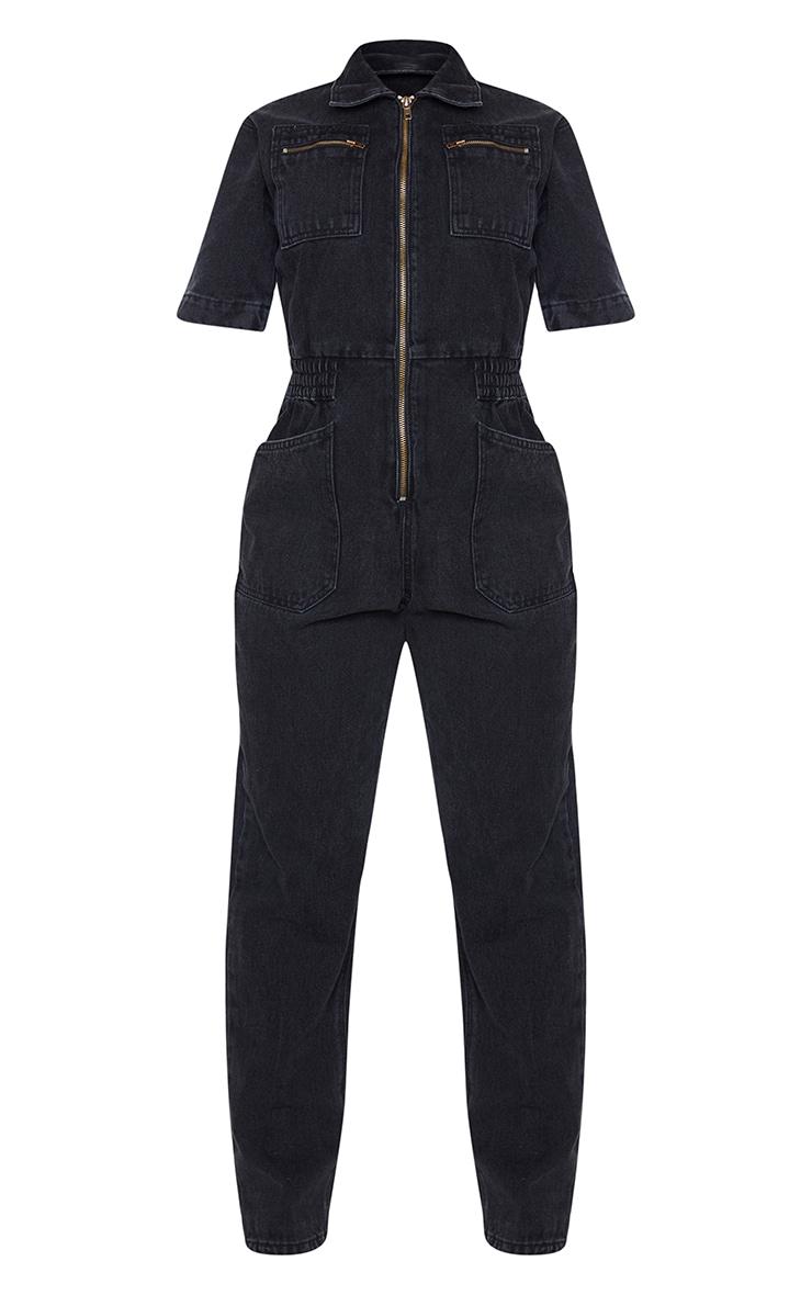 Shape - Combinaison en jean noir à manches courtes et poches 5