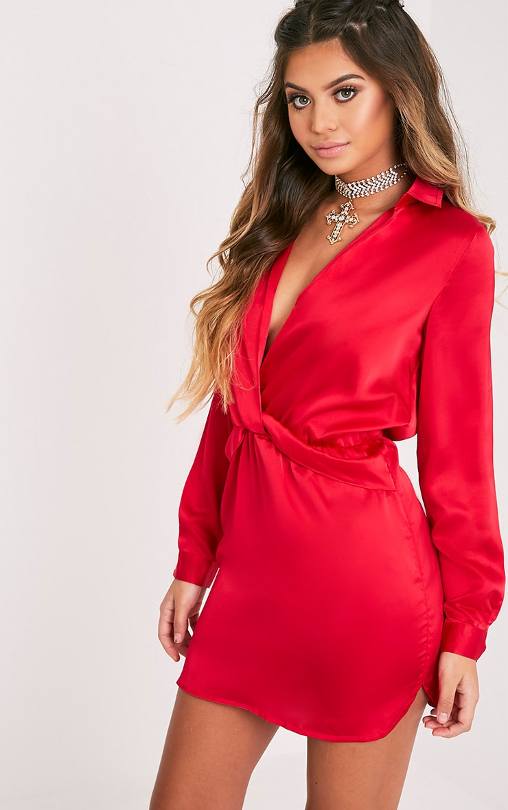 Katalea Red Twist Front Silky Shirt Dress 1