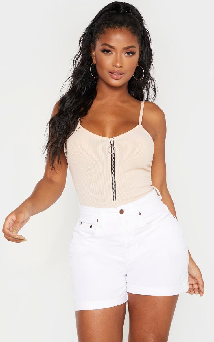 Shape White High Waist Fitted Denim Shorts 1