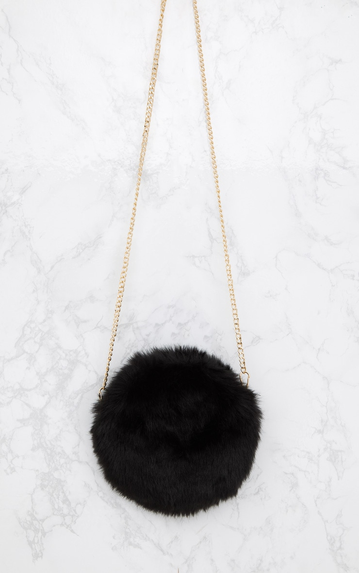 Black Round Faux Fur Bag 3