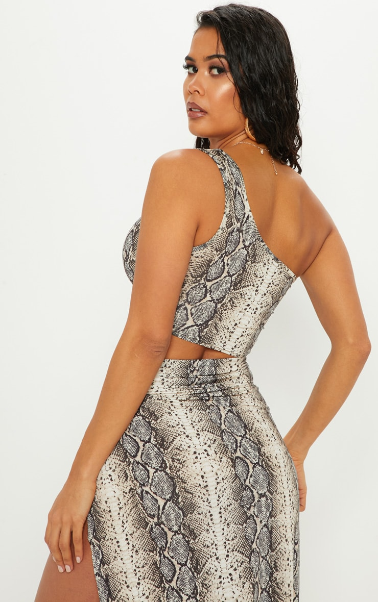 Stone Snake Print One Shoulder Crop Top 2