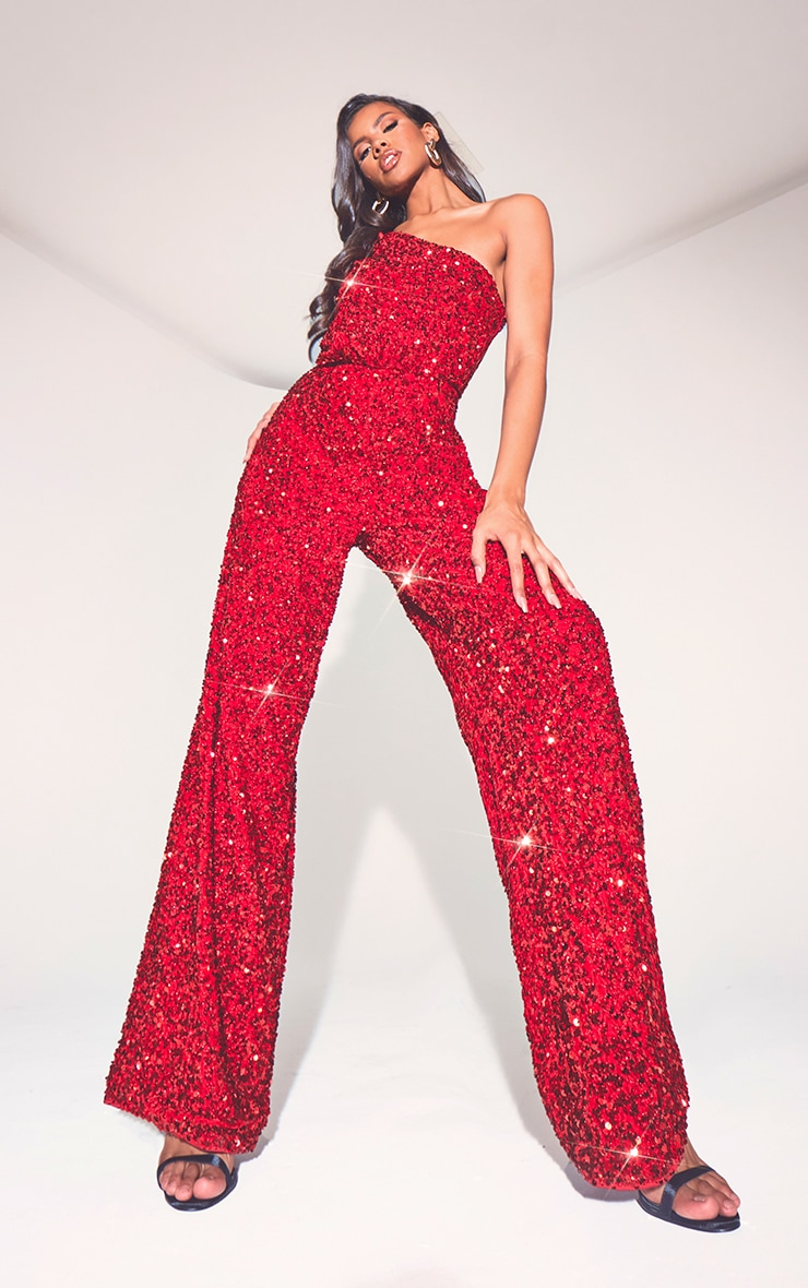 Red Premium Velvet Sequin One Shoulder Wide Leg Jumpsuit 4