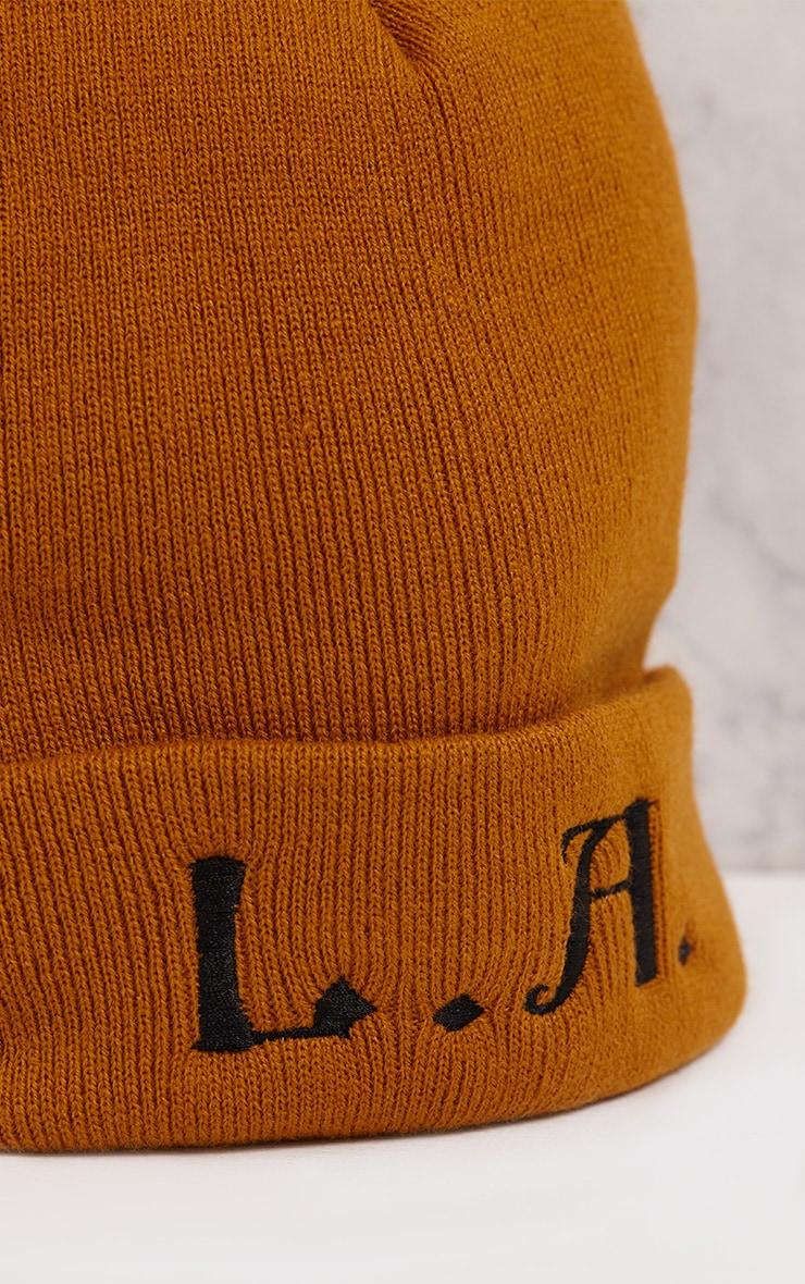 L.A. Slogan Mustard Beanie Hat 5