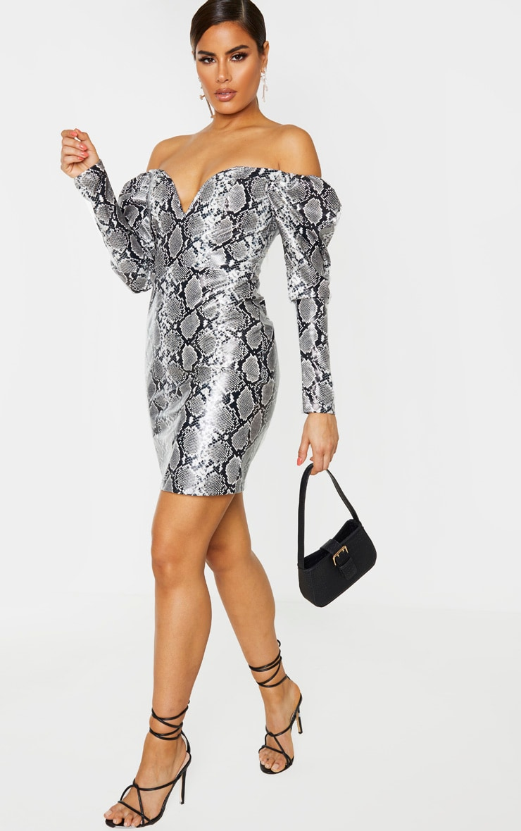 Tall Grey PU Snake Print Plunge Long Sleeve Mini Dress 1