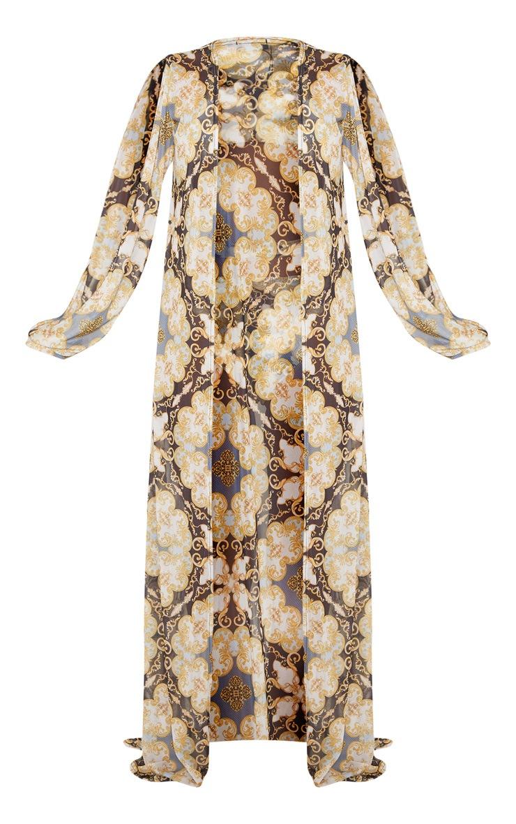 Black Chain Print Split Sleeve Chiffon Maxi Kimono 6