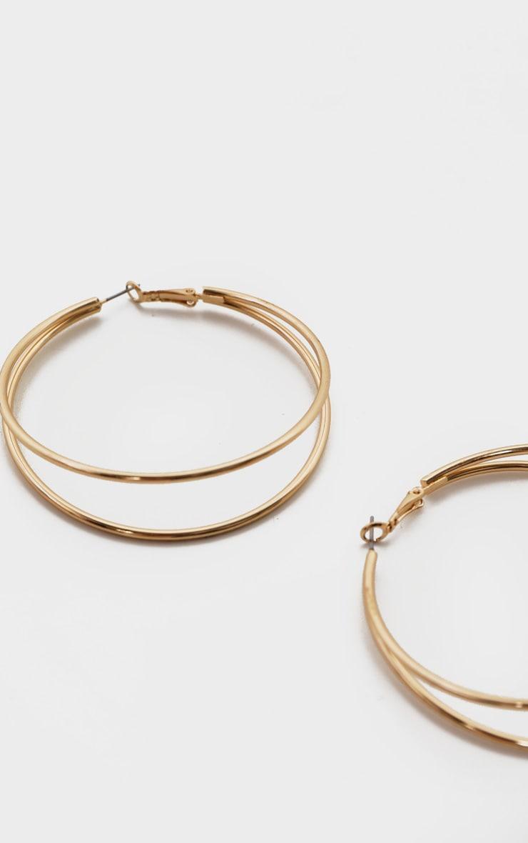 Gold Double Medium Hoop Earrings 3