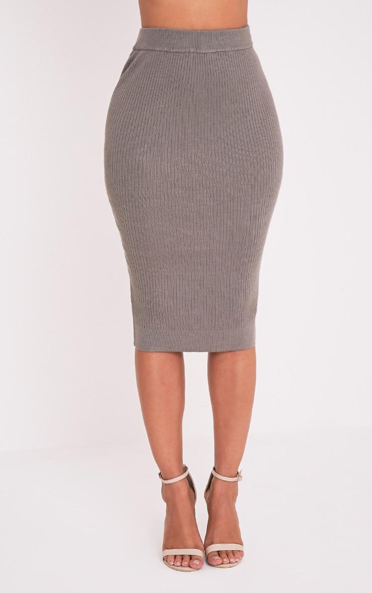 Taegan Olive Ribbed Knitted Midi Skirt 2