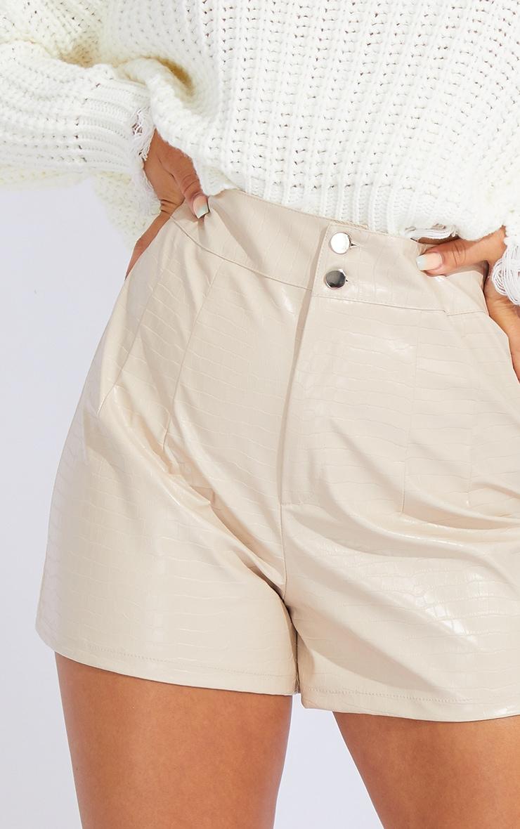 Stone Croc Faux Leather Pleat Detail Shorts 5