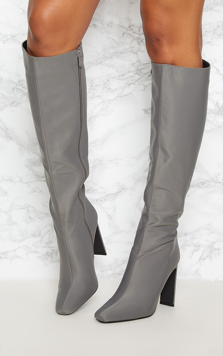 Charcoal Grey Knee High Flat Heel Boot 2