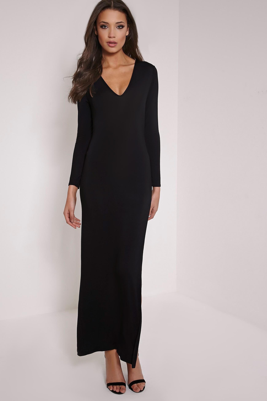 Basic Black V Neck Maxi Dress 4