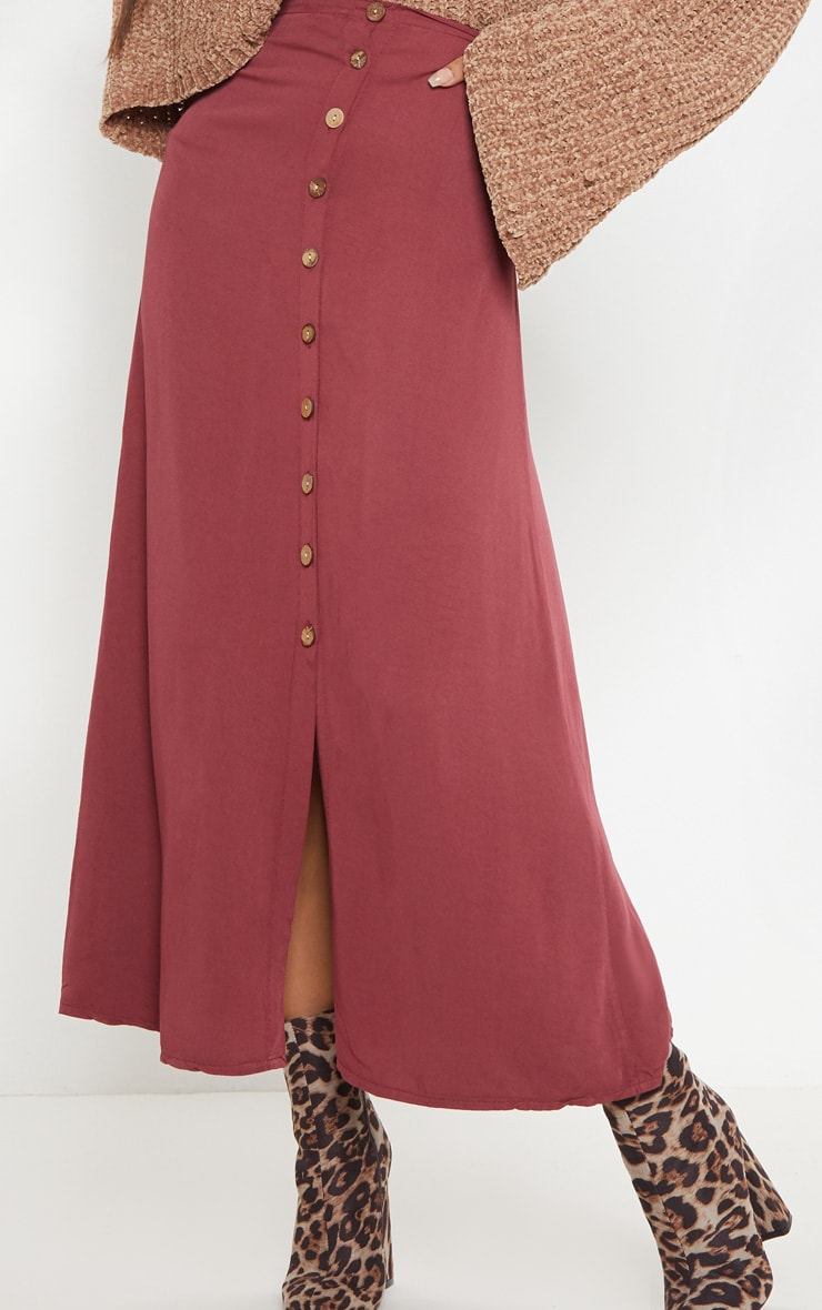 Wine Button Front High Waisted Midi Skirt 5