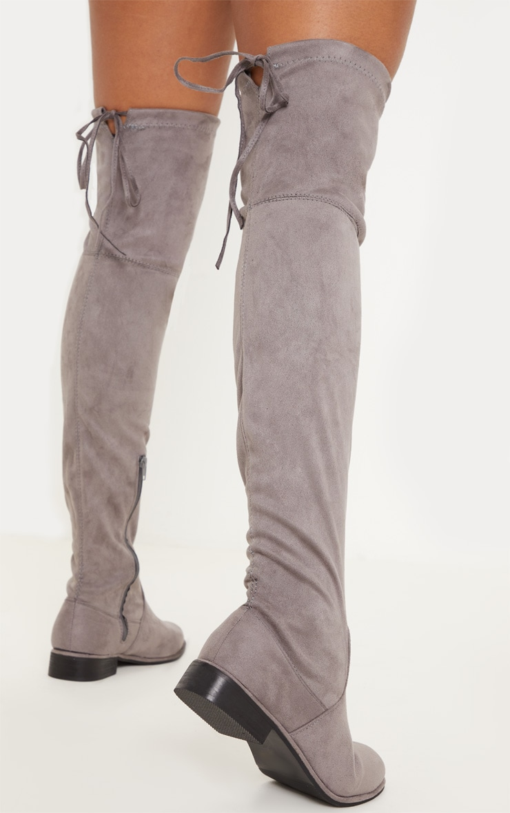 Grey Flat Over The Knee Boot 2