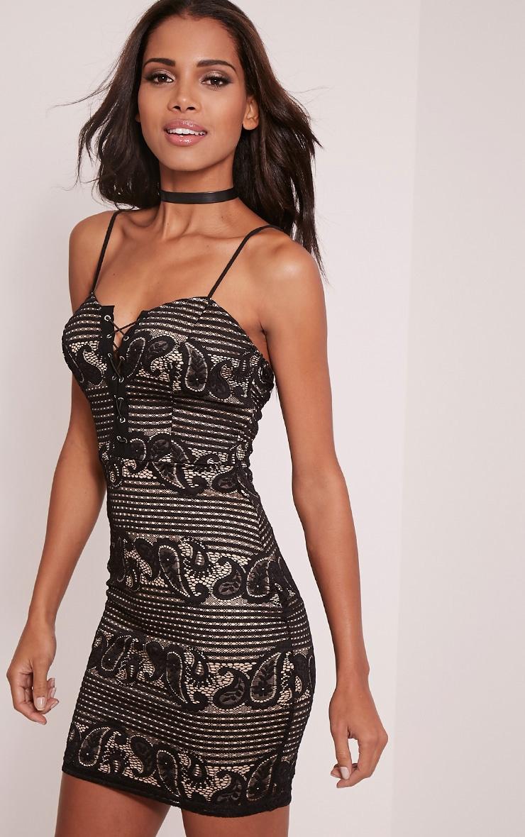 Tayla Black Stripe Lace Bodycon Dress 4