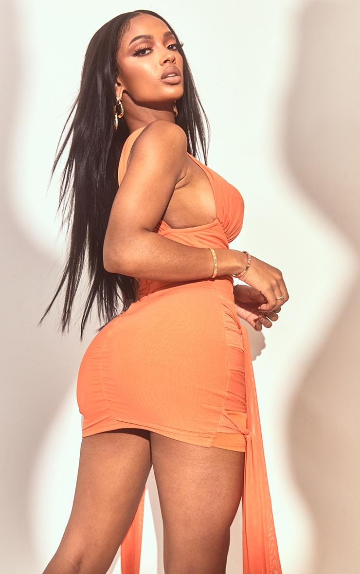 Shape - Robe moulante orange en mesh à liens autour du cou 2