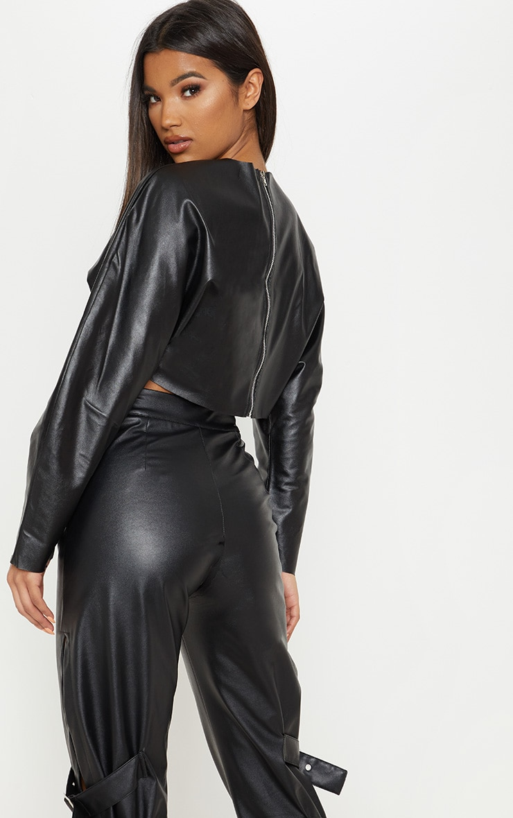 Black Faux Leather Crop Sweater 2