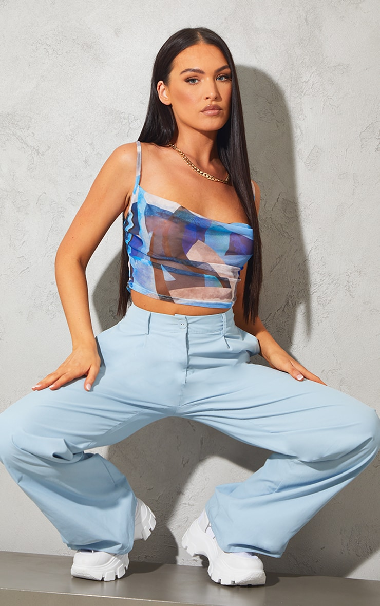 Blue Print Mesh Cowl Neck Cami 3