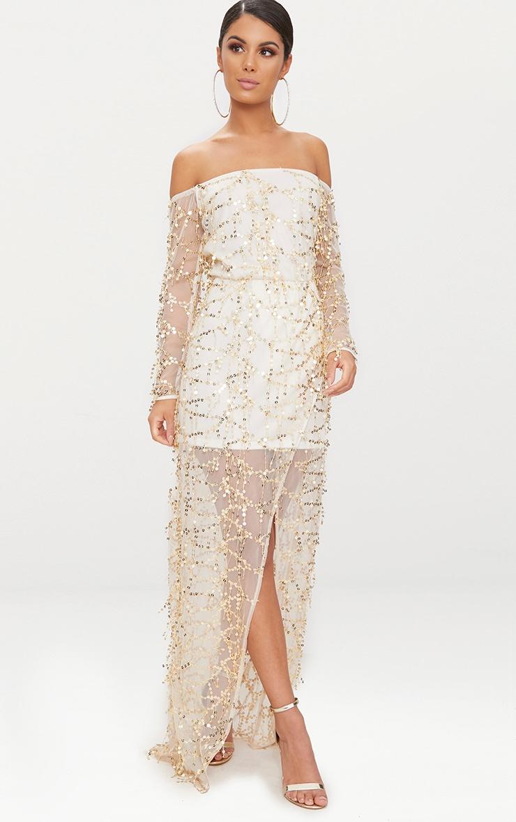 Nude Bardot Sequin Wrap Maxi Dress 4
