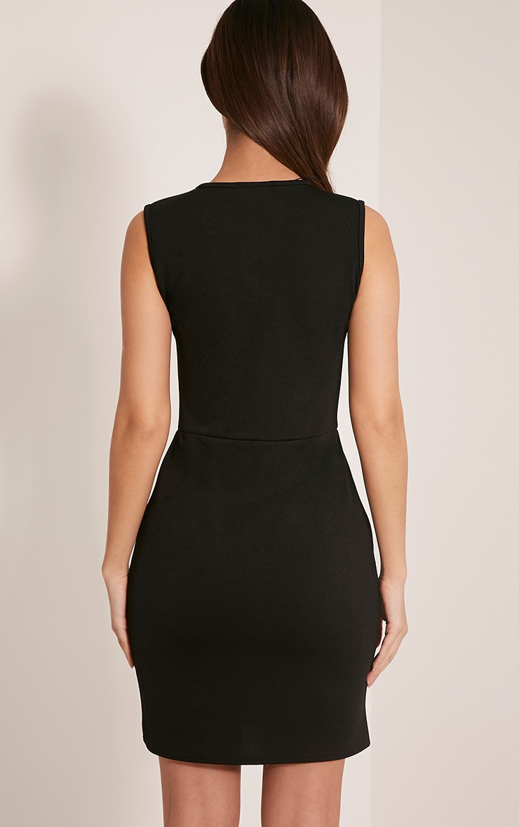 Arya Black Sleeveless Strap Detail Mini Dress 2
