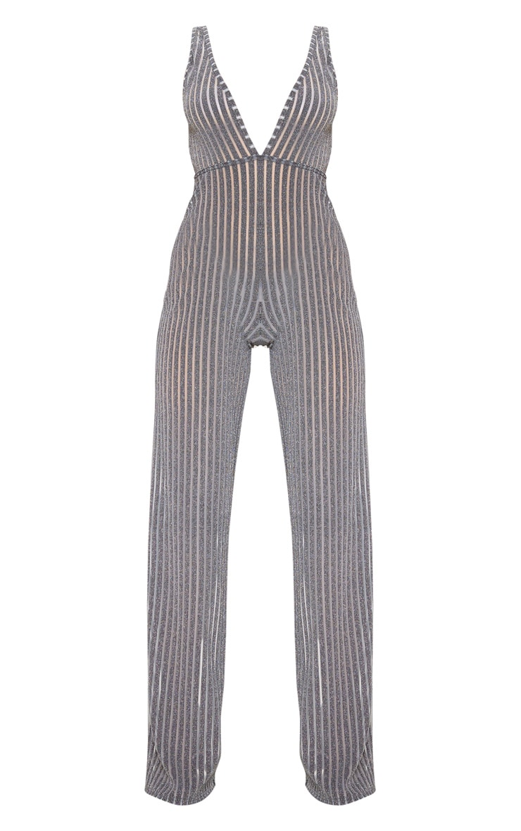 Silver Striped Glitter Plunge Jumpsuit 3