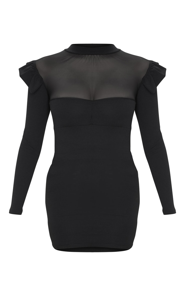 Black Frill Shoulder Mesh Insert Long Sleeve Bodycon Dress 6