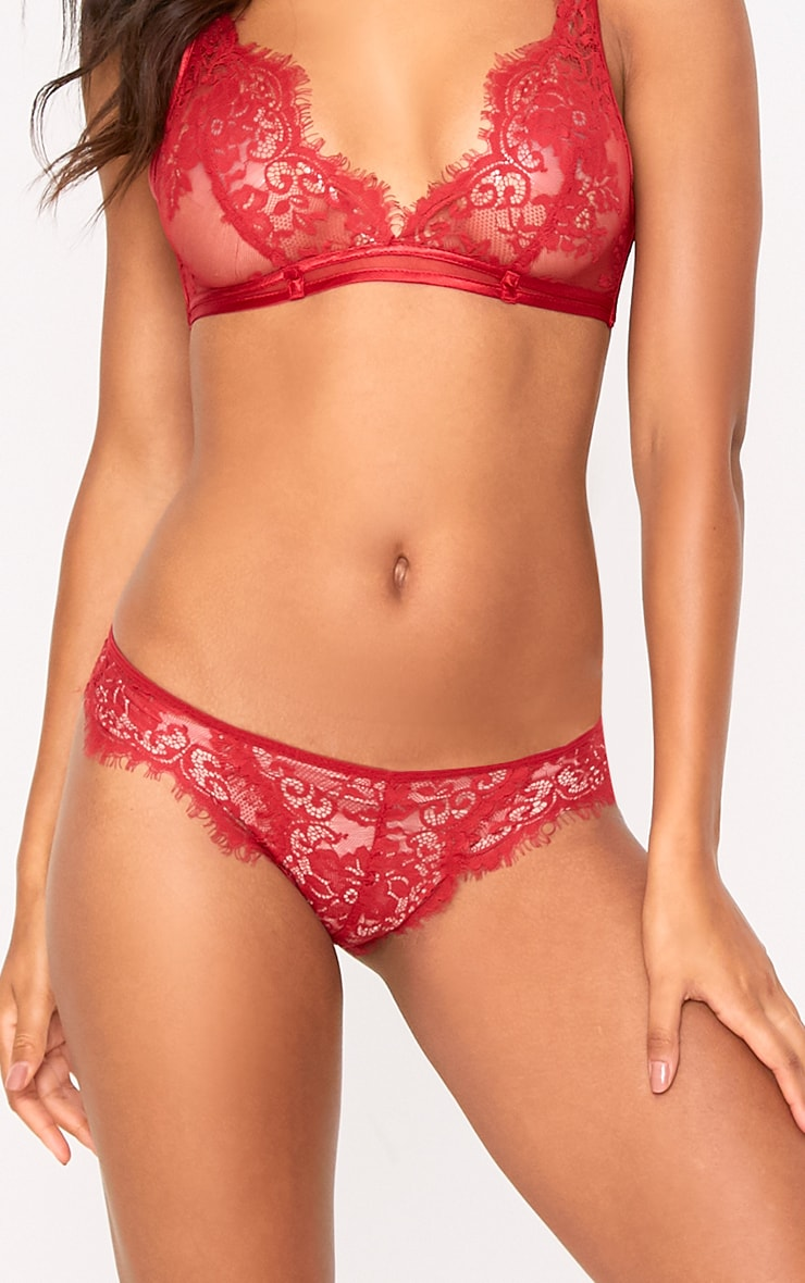 Wendy Red Sheer Lace Soft Bra 5