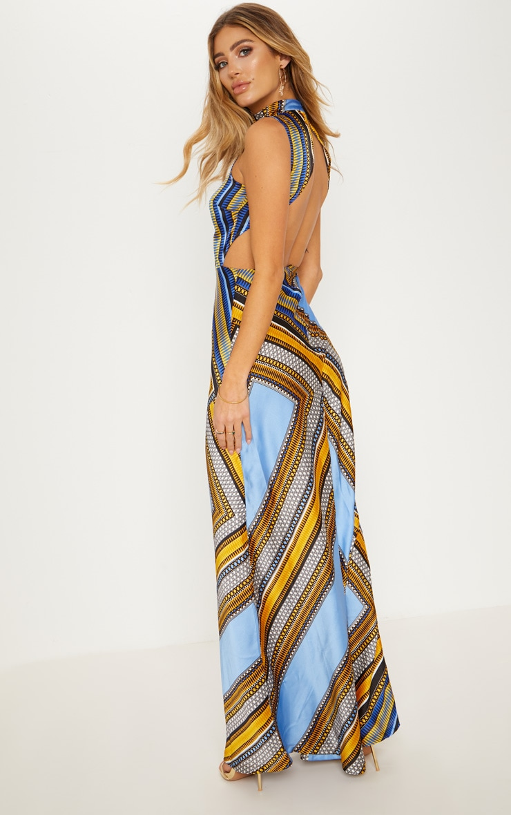 Blue Scarf Print Backless Maxi Dress 1