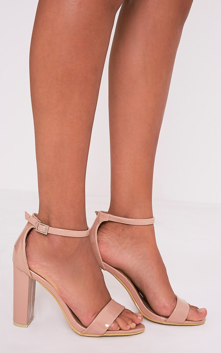 PRETTYLITTLETHING Enna Nude Single Strap Heeled Sandals