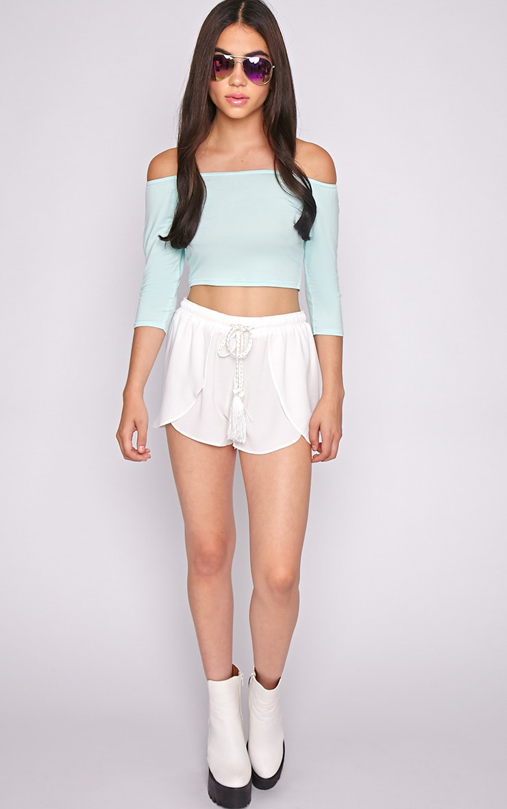Joy Mint Bardot Crop Top  5