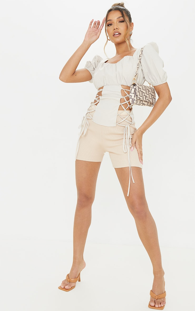 Stone Ruched Bust Woven Short Sleeve Lace Up Long Top 3